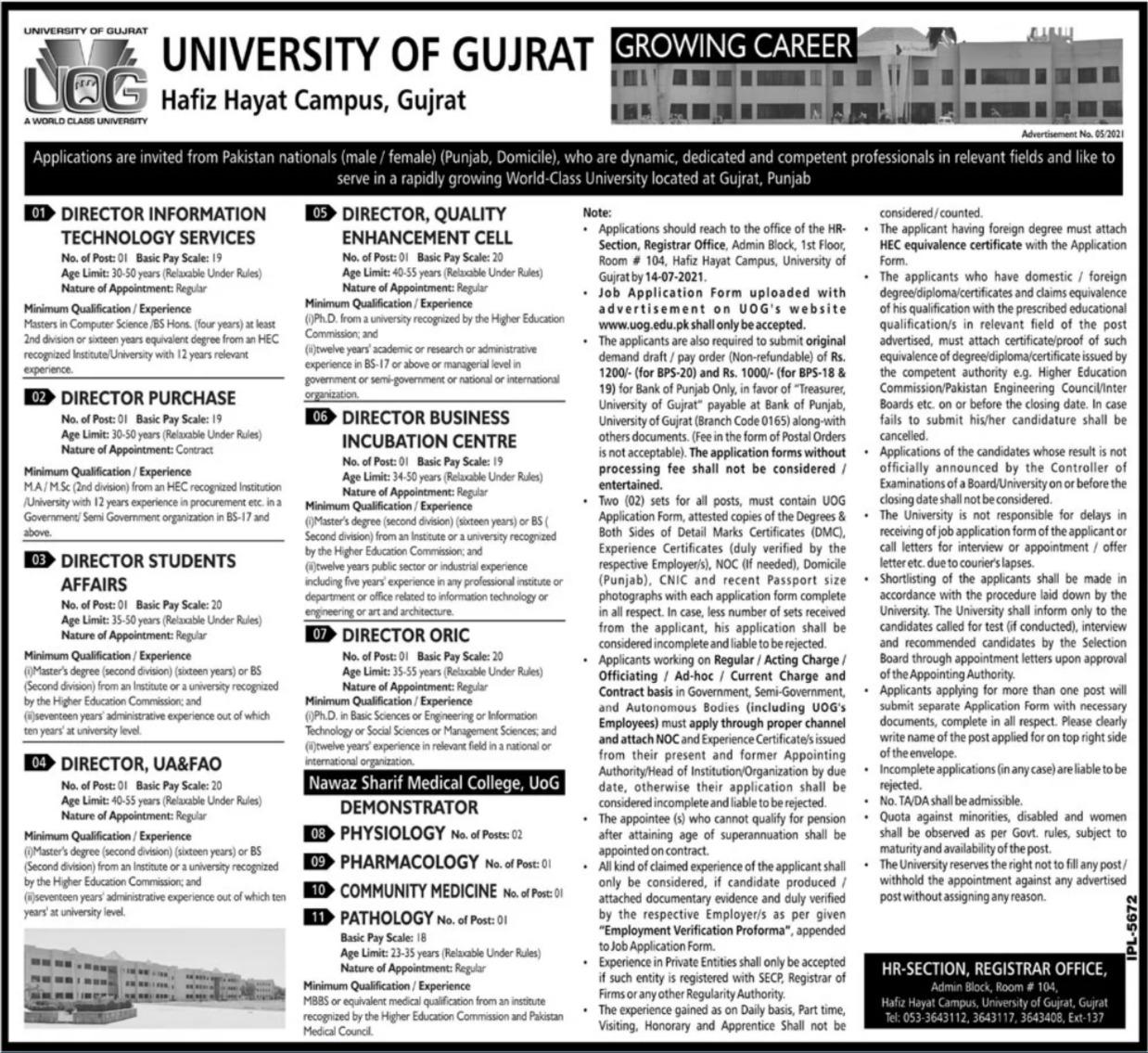University of Gujrat Hafiz Hayat Campus Gujrat Jobs 2021