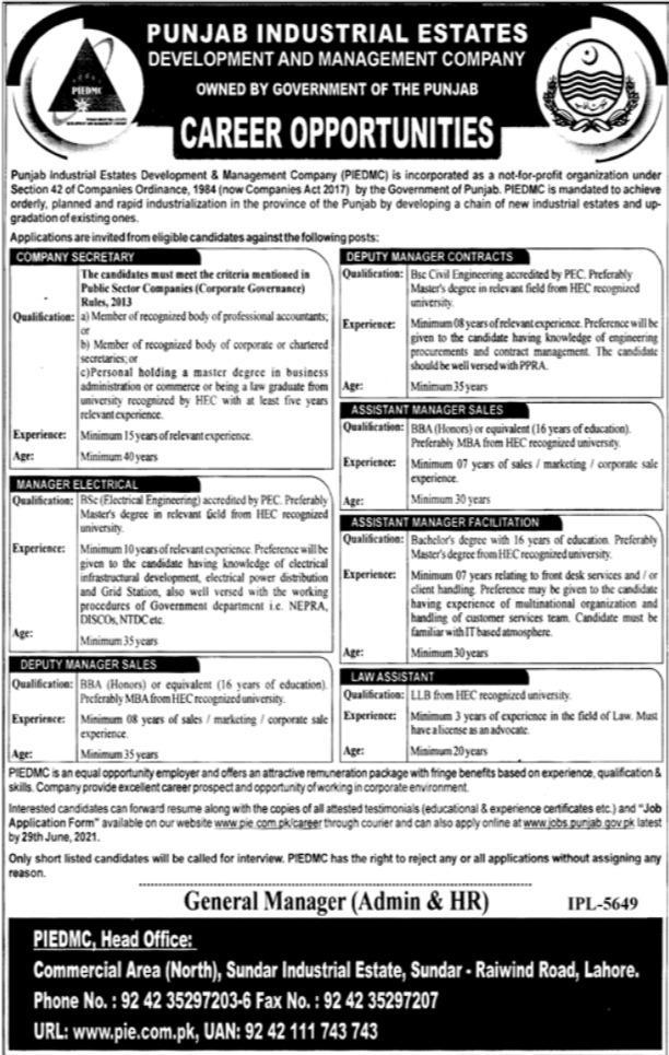 Punjab Industrial Estates Lahore Jobs 2021