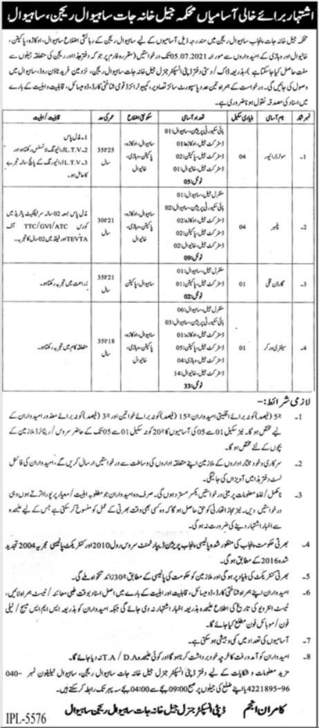 Jail Department Sahiwal Jobs 2021