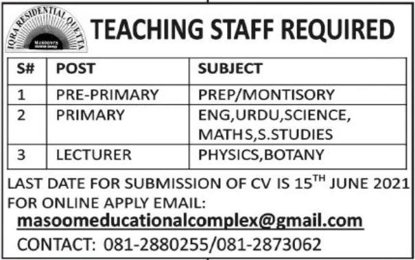 Teaching Staff Jobs in Quetta