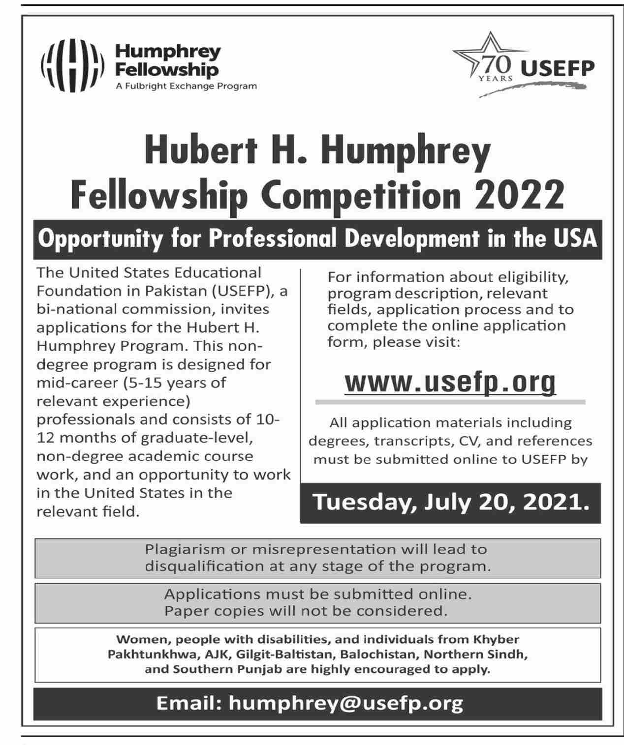 USEF Hubert H Humphery Fellowhisp Comprtition 2021