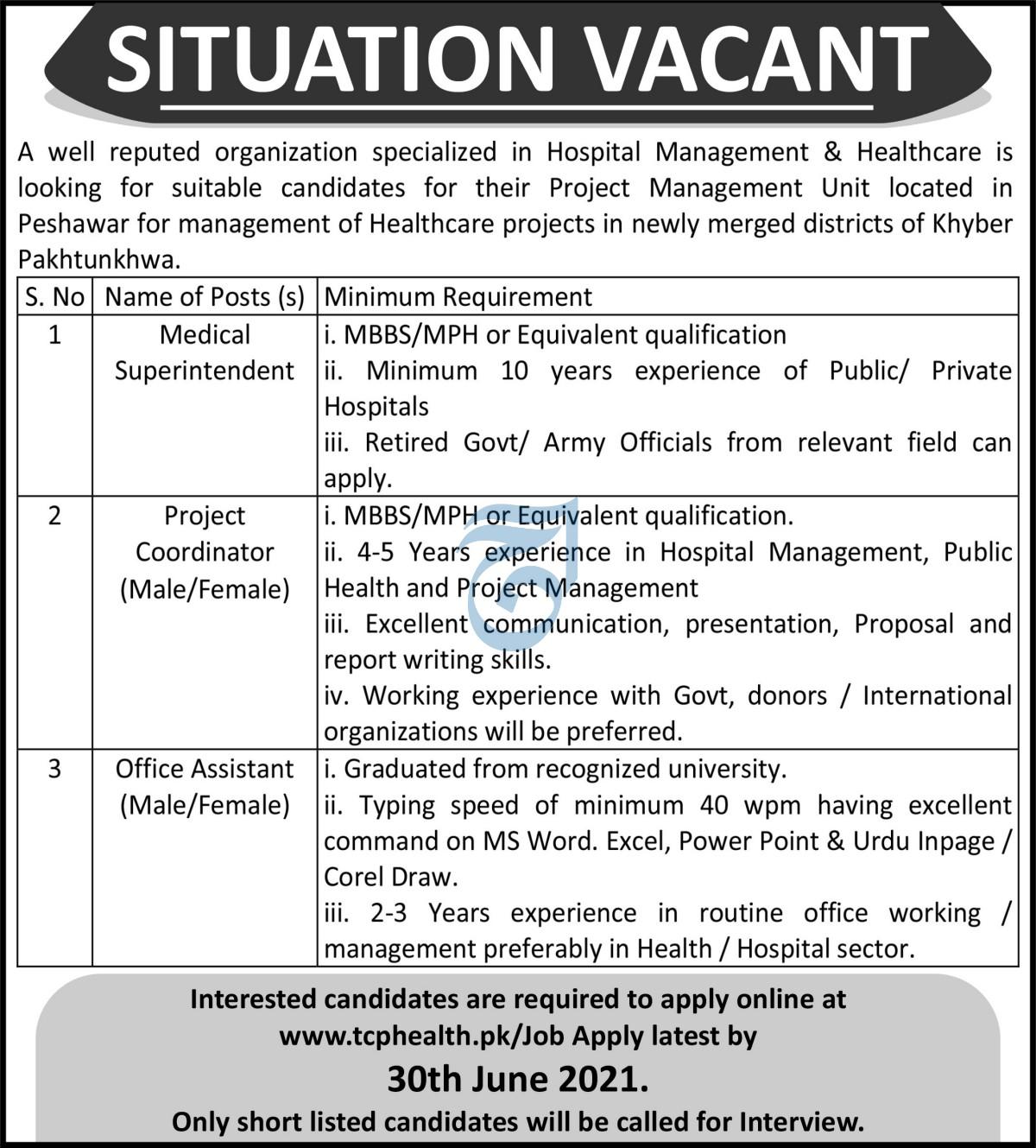 Healthcare Staff Jobs 2021 in Peshawar