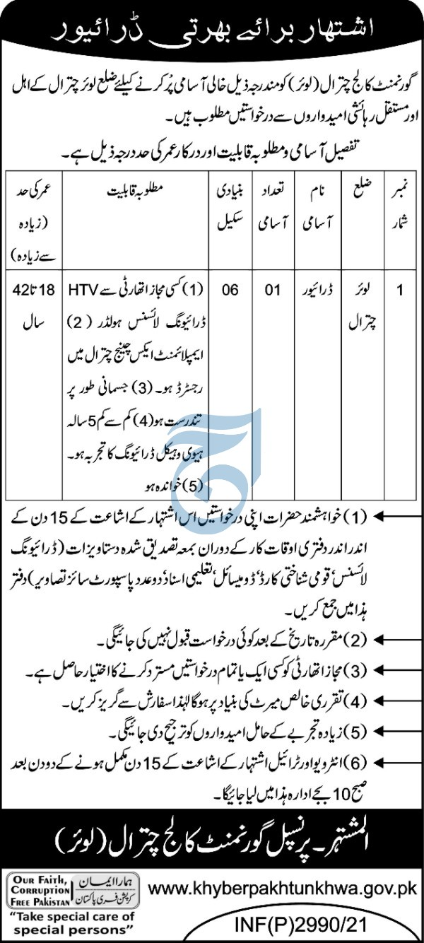 Government College Chitral Jobs 2021