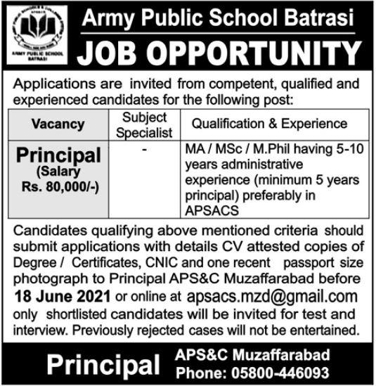 Army Public School Batrasi Jobs 2021