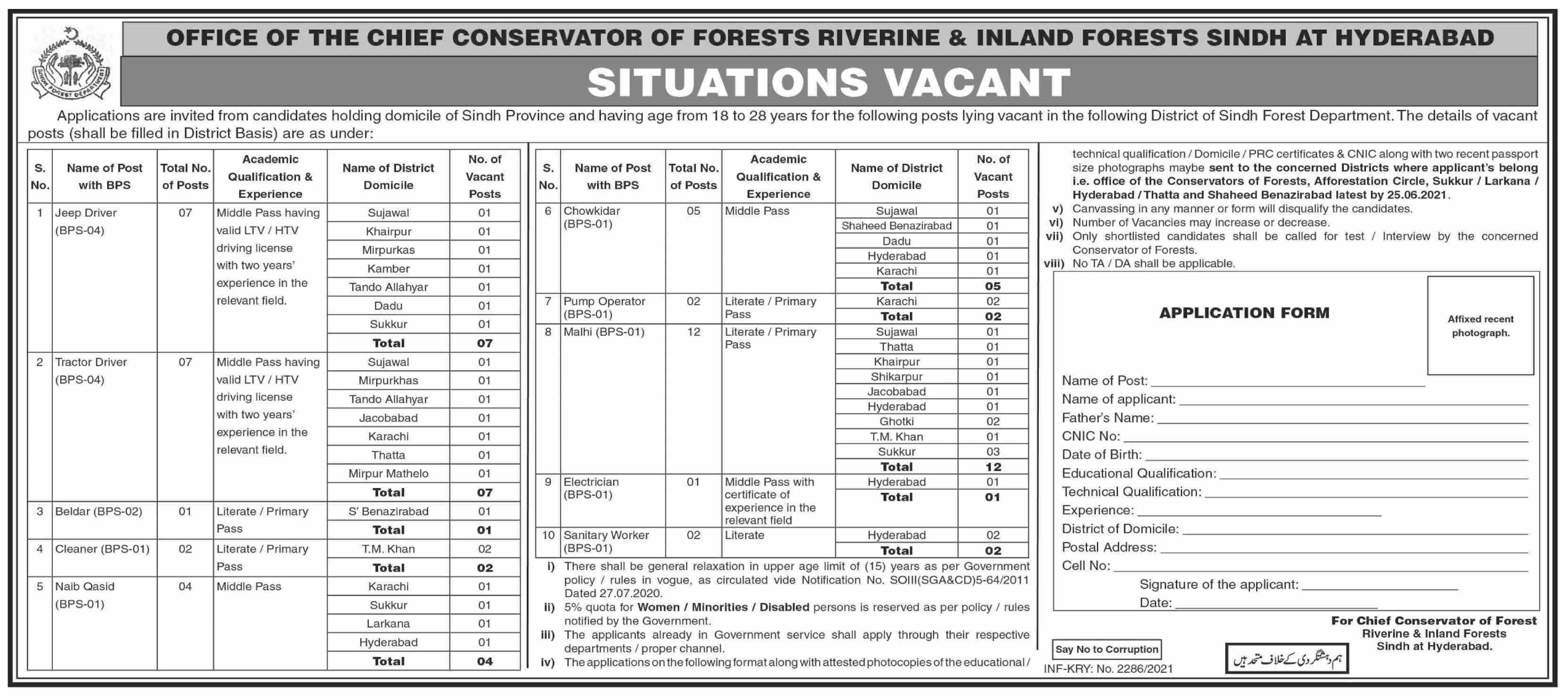 Chief Conservator of Forests Non Technical Staff Jobs 2021