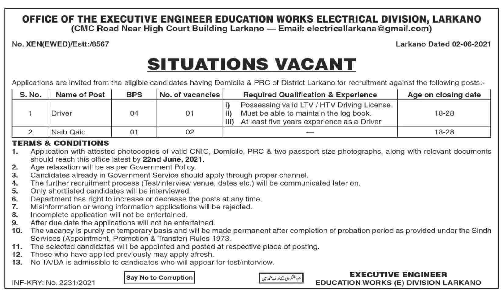 Education Works Division Larkana Driver & Naib Qasid Jobs