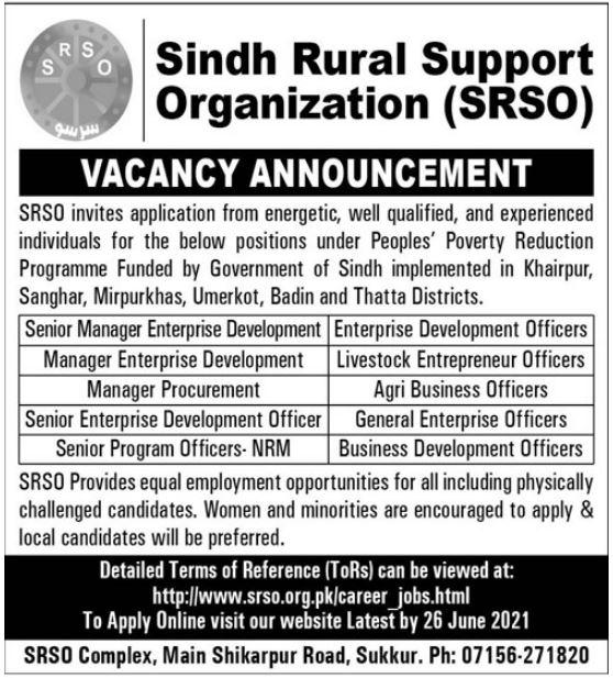 Sindh Rural Support Organization SRSO Jobs 2021