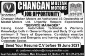 Changan Multan Motors Service Manager Jobs 2021