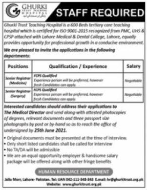Ghurki Trust Hospital Medical Staff Jobs 2021