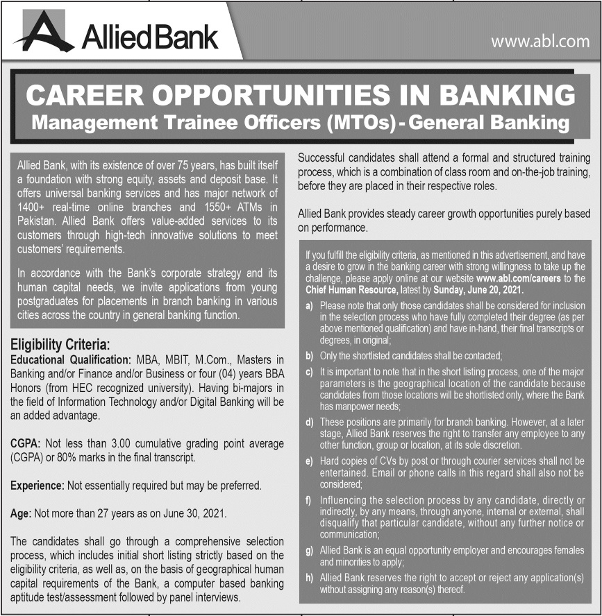 Allied Bank Limited ABL Jobs 2021 in Lahore