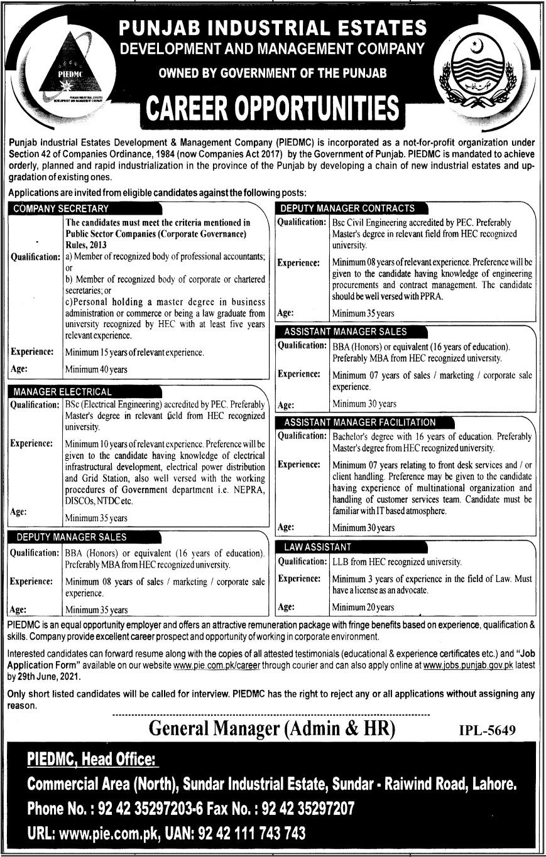 Punjab Industrial Estates Jobs 2021 For Management Staff