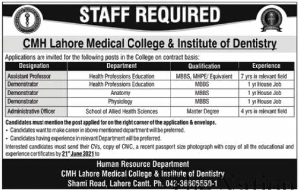 CMH Lahore Medical College Faculty Staff Jobs 2021