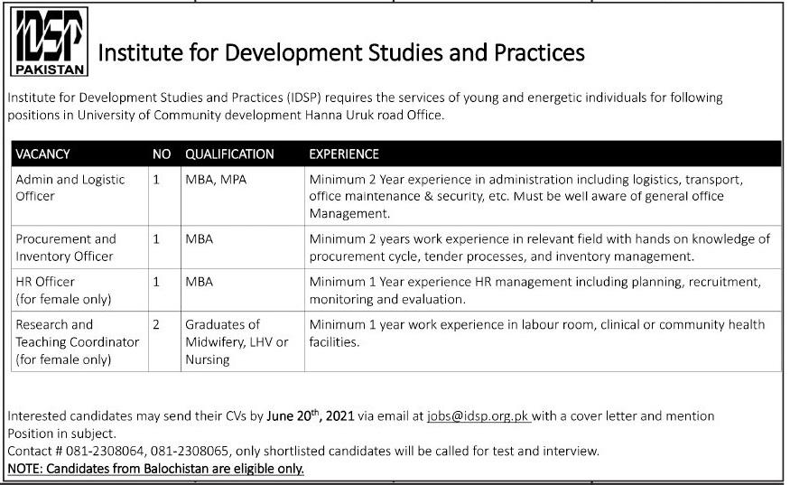 Institute for Development Studies & Practices IDSP Jobs 2021