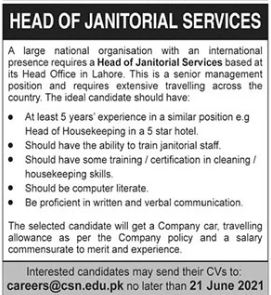 Head of Janitorial Services Job 2021 in Lahore