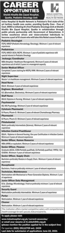 Indus Hospital & Health Network Jobs 2021 in Quetta