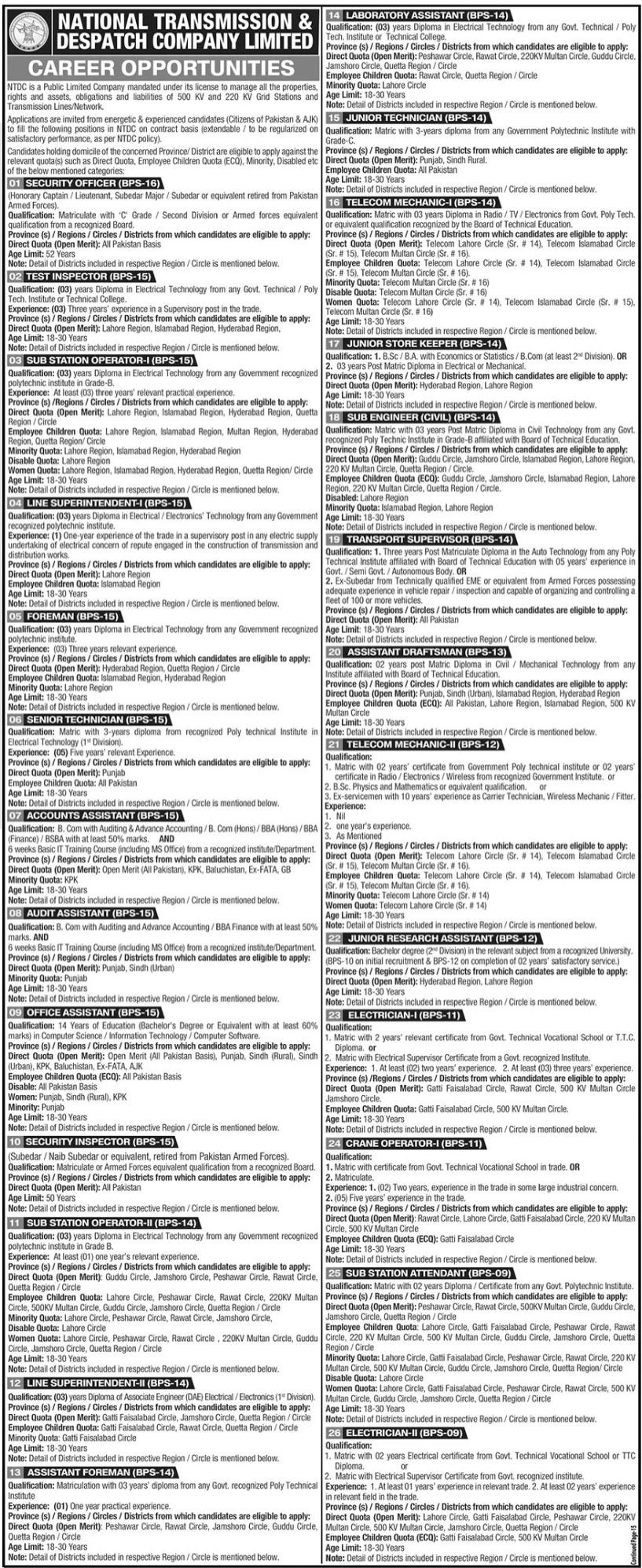 National Transmission & Despatch Company Jobs 2021 via NTS