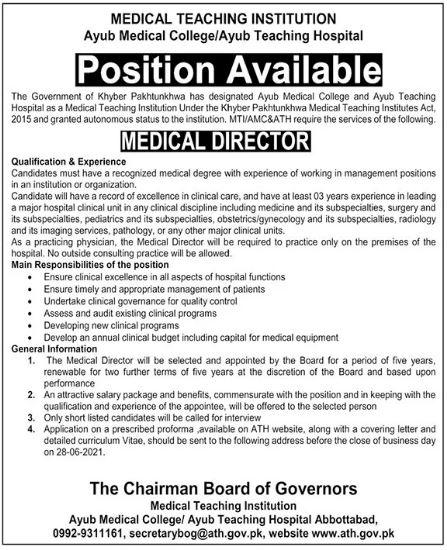 Ayub Teaching Hospital Jobs 2021 in Abbottabad KPK