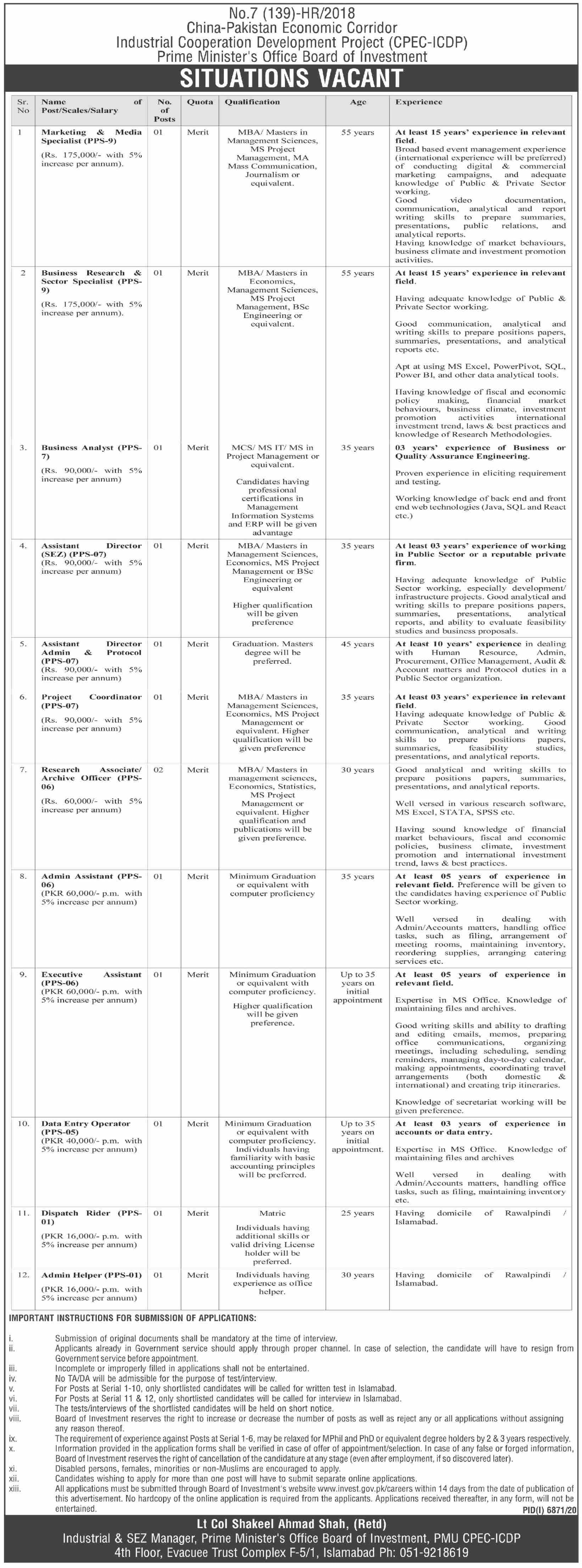 CPEC ICDP Management Jobs 2021