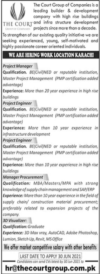 The Court Group of Companies Jobs 2021 in Karachi