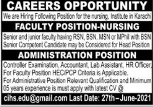 Nursing Institute Jobs 2021 in Karachi