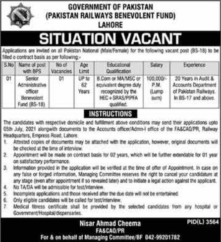 Pakistan Railways Benevolent Fund Jobs 2021