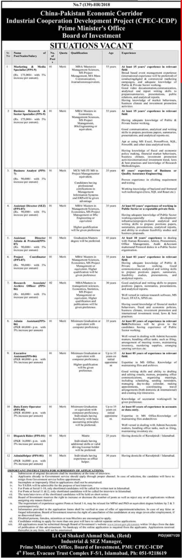 Industrial Cooperation Development Project CPEC Jobs 2021