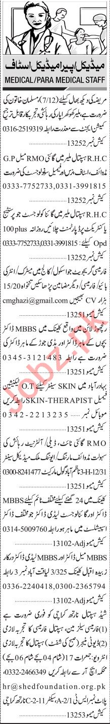 Jang Sunday Classified Ads 13 June 2021 for Medical Staff