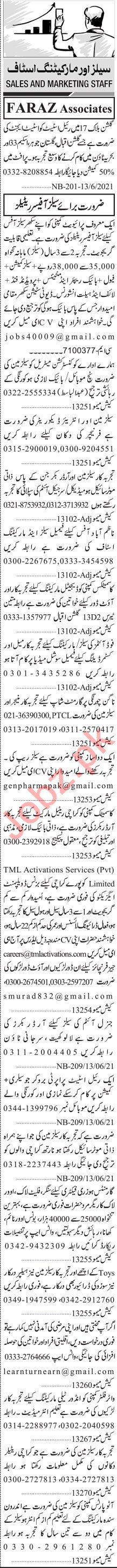 Jang Sunday Classified Ads 13 June 2021 for Marketing Staff