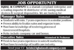 Iqbal & Company Jobs 2021 in Islamabad & Peshawar