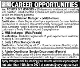 Toyota GT Motors Jobs 2021 in Islamabad