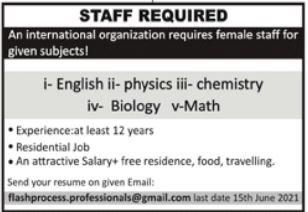 International Organization Jobs 2021 For Teaching Staff