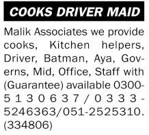 Malik Associates Jobs 2021 for Cook & Aya