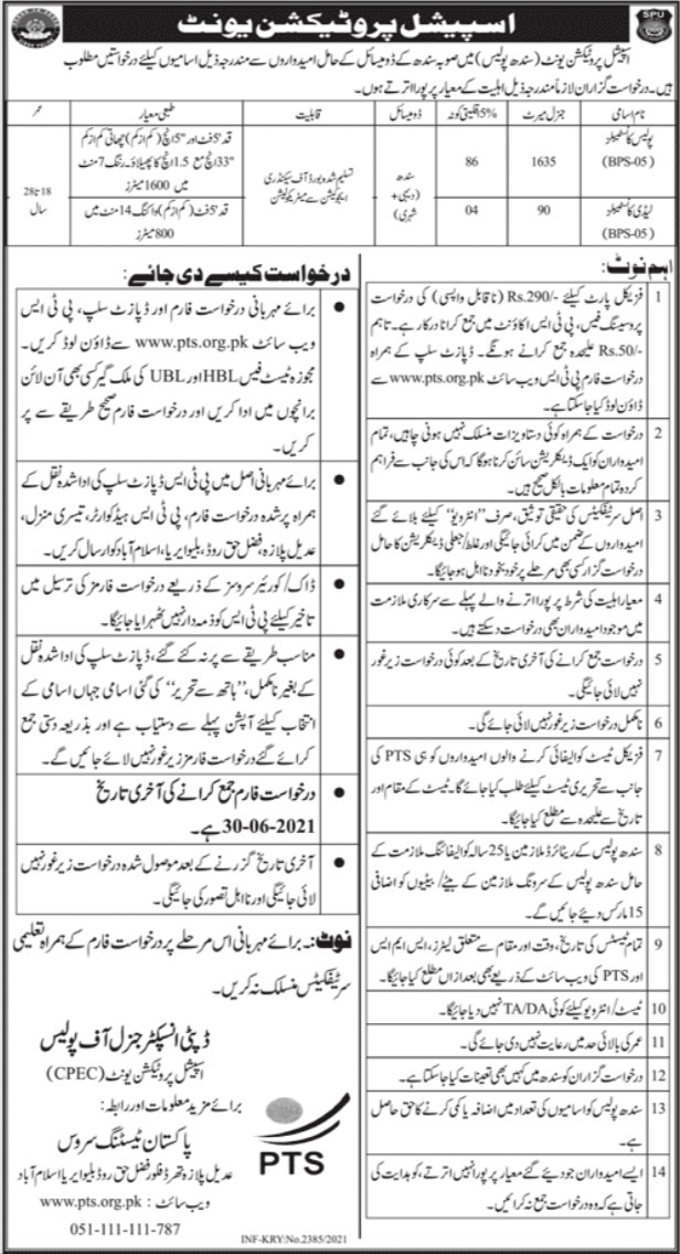 Special Protection Unit SPU Sindh Jobs 2021
