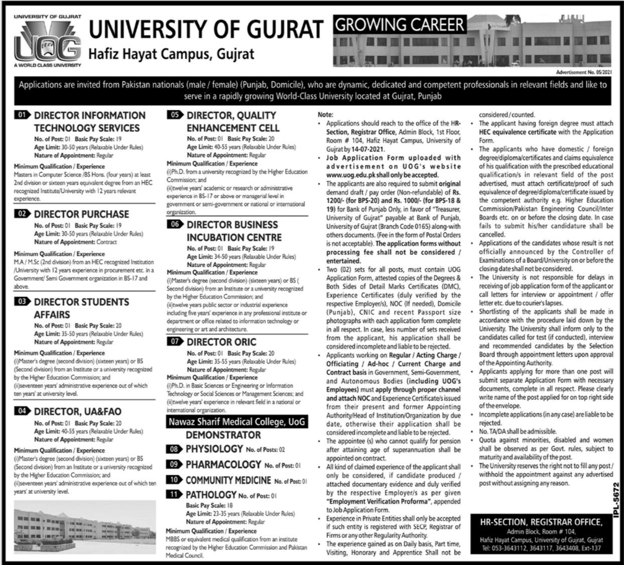 University of Gujrat UOG Jobs 2021 in Hafiz Hayat Campus