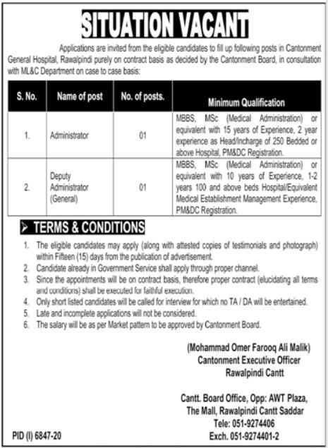Cantonment General Hospital Rawalpindi Jobs 2021