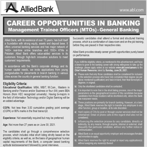 Allied Bank Limited ABL Jobs For Management Trainee Officer