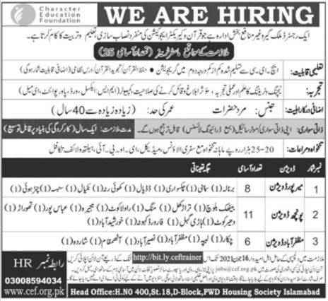 Character Education Foundation Jobs 2021 For Master Trainers