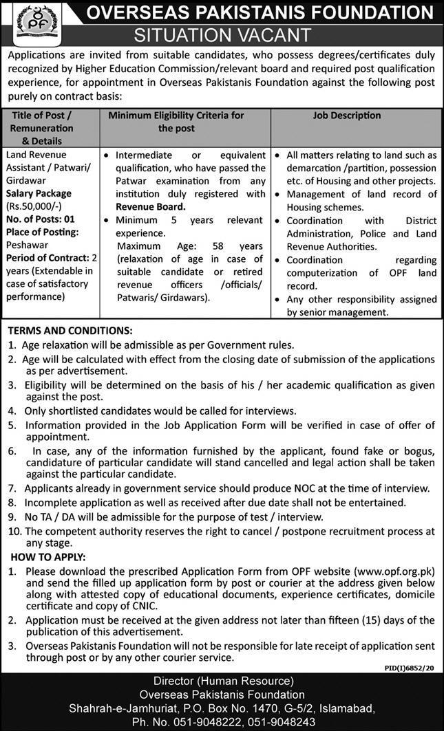Overseas Pakistanis Foundation OPF Jobs 2021 in Peshawar KPK