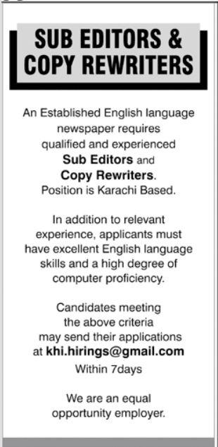 Sub Editor and Copy Rewriters Jobs 2021 in Karachi