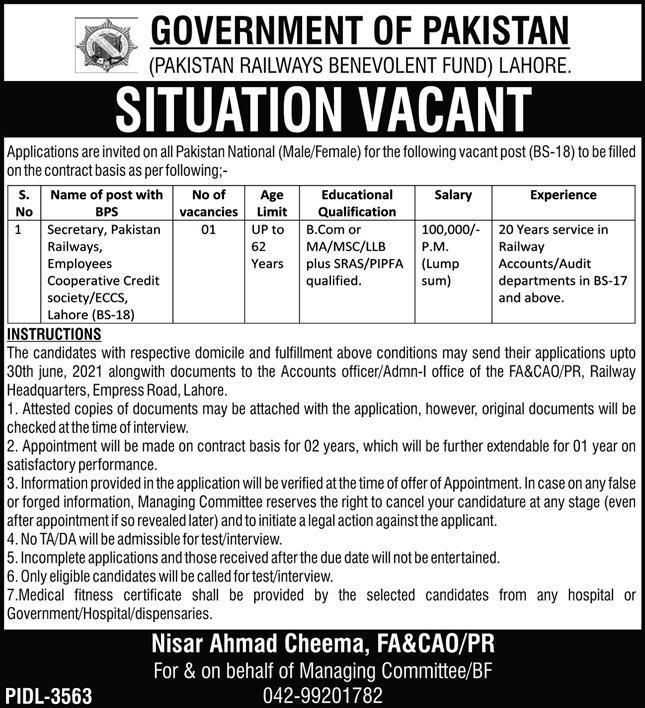 Pakistan Railways Benevolent Fund Job 2021 in Lahore