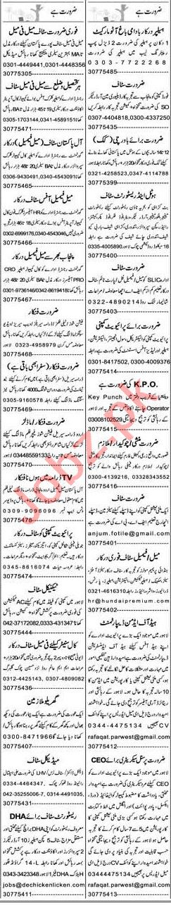 Express Sunday Lahore Classified Ads 13 June 2021