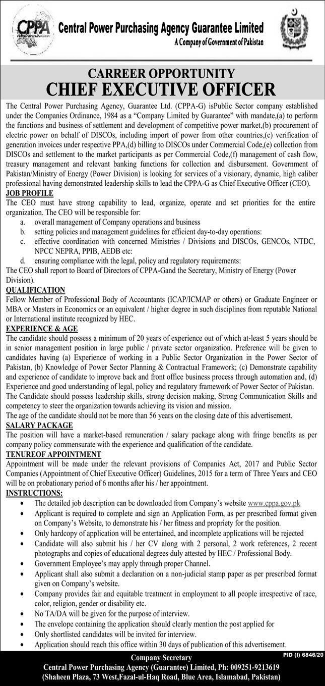 Chief Executive Officer CEO Job 2021 in Islamabad