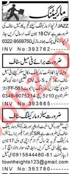 Aaj Sunday Classified Ads 13 June 2021 for Marketing Staff