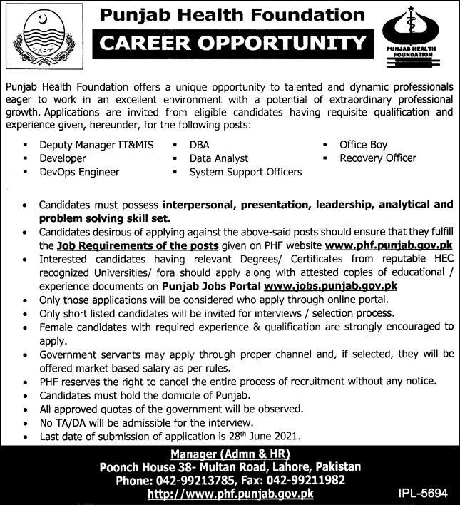 Punjab Health Foundation PHF Jobs 2021 in Lahore