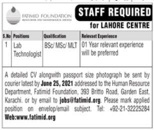 Fatimid Foundation NGO Job 2021 For Lab Technologist