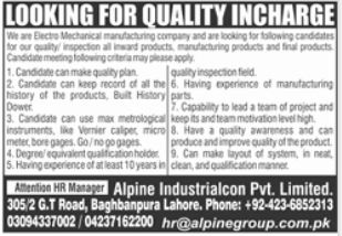Quality Incharge Job 2021 in Lahore