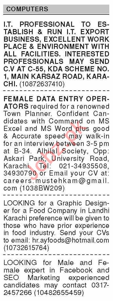 Dawn Sunday Classified Ads 13 June 2021 for Computer Staff