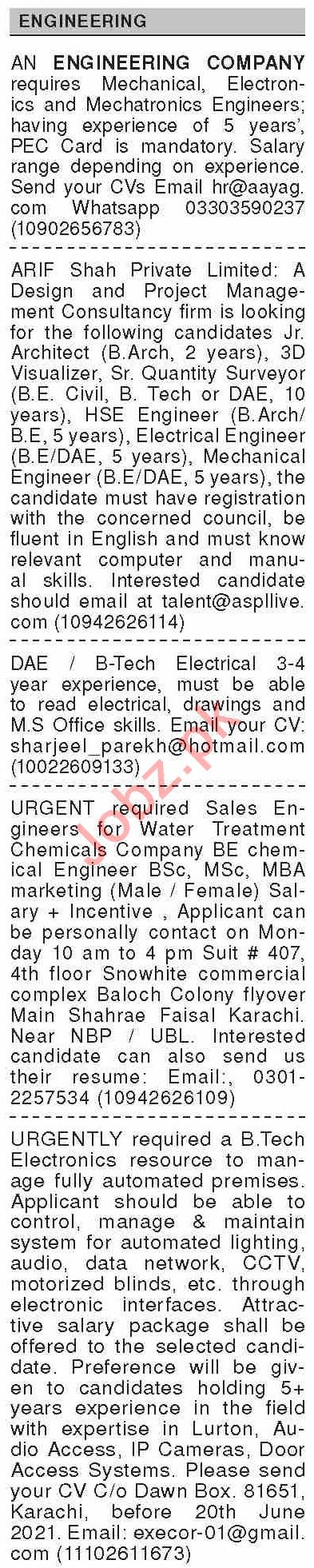 Dawn Sunday Classified Ads 13 June 2021 for Engineering
