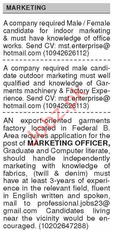Dawn Sunday Classified Ads 13 June 2021 for Marketing Staff