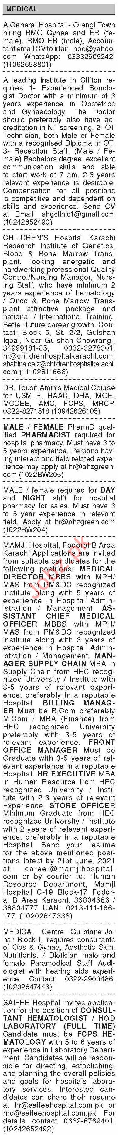 Dawn Sunday Classified Ads 13 June 2021 for Medical Staff